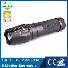 High-quality CREE T6-L2 LED Flashlight 3800LM 5 Modes Zoomable Aluminum Flashlight For Hunting(China (Mainland))