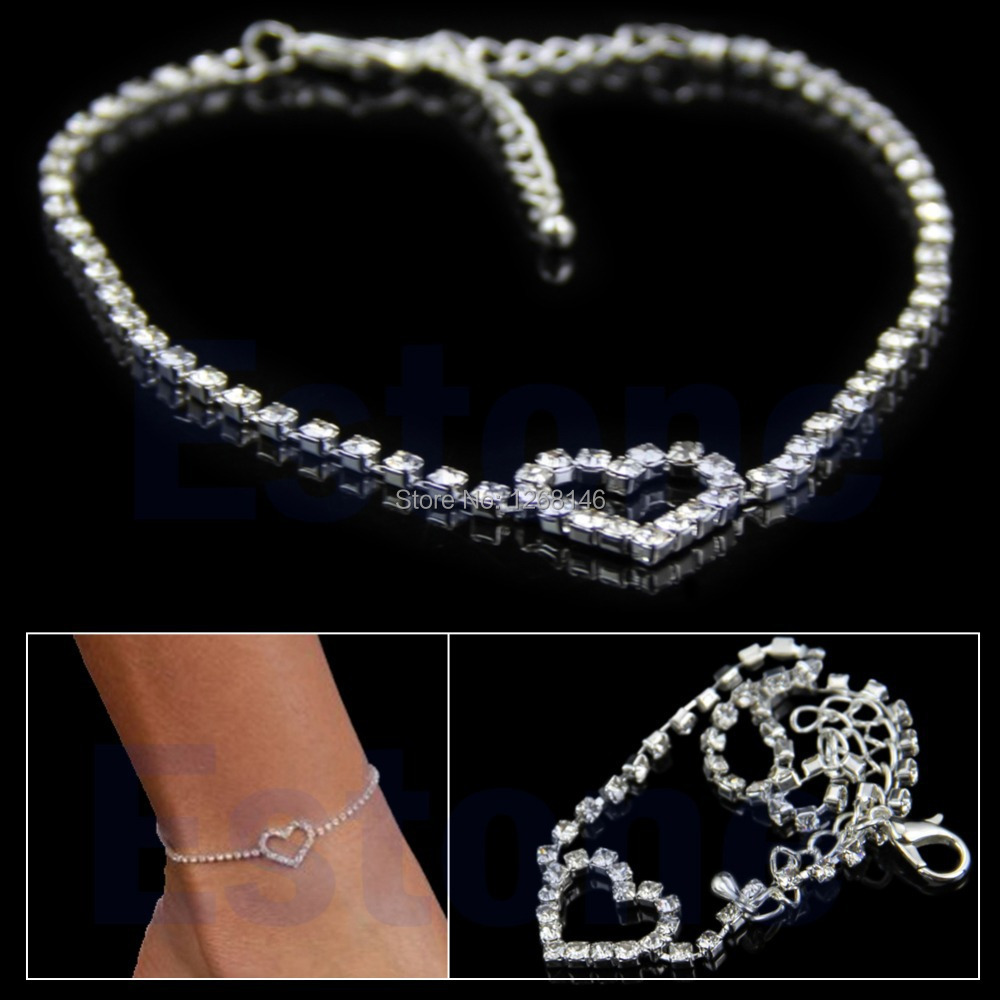 S111 Free Shipping Sexy Women Love Gift Heart Rhinestone Foot Anklet Wedding Jewelry Ankle Bracelet