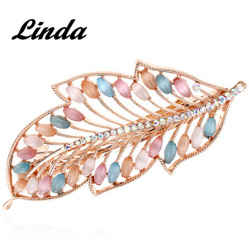 Leaf opals metal claw hair clips for women metal hair sticks metal bb gun new arrival HR03 free shipping(China (Mainland))