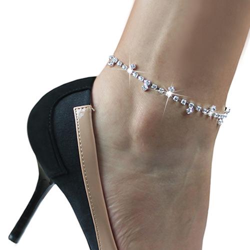 24 Pcs Sexy Clear Rhinestone Anklet Foot Sandal Beach Wedding Jewelry Office Ladies Ankle Bracelet