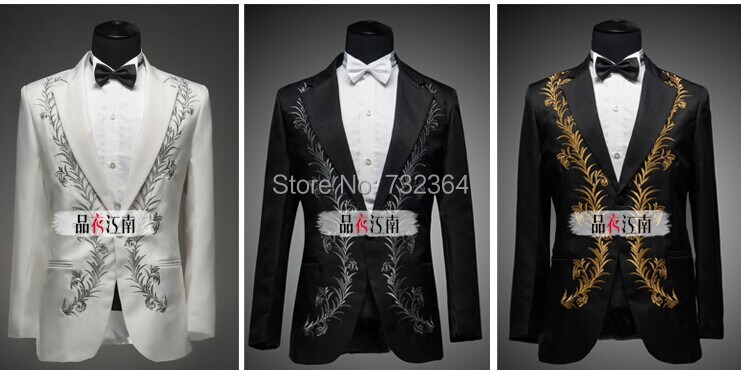 mens stage performance embroidery tuxedo suit trousers black/white, include shirts - Online Store 732364 store