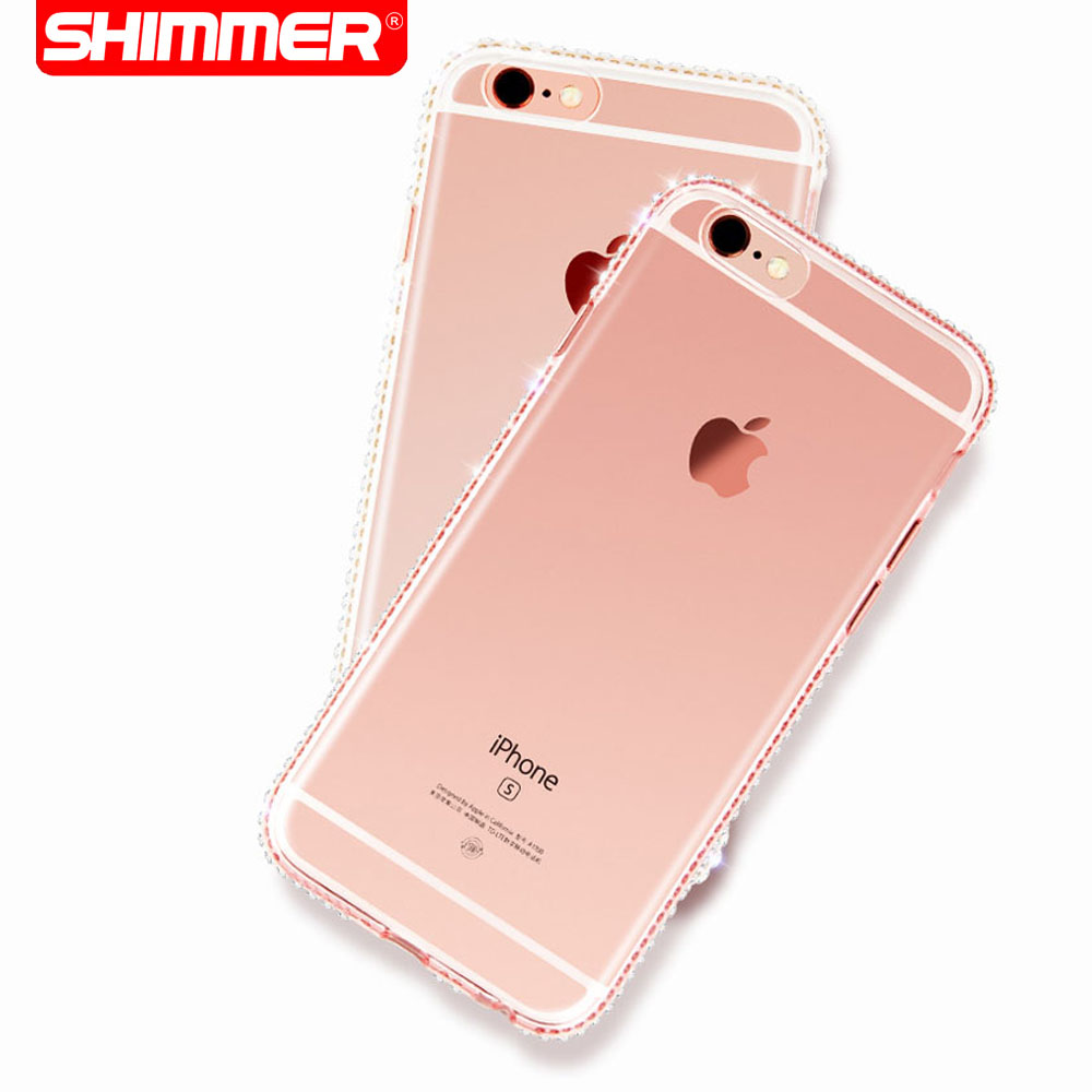 Luxury Bling Mirror Rhinestone Case For iPhone 5 5S SE 6 6S Plus Clear TPU Ultra Slim Flexible Soft Cover(China (Mainland))