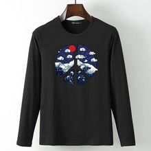 Мужская футболка в японском стиле Ukiyo-e футболка большого размера повседневные мужские футболки с длинными рукавами мужские футболки Camiseta 3D...(China)