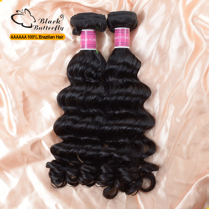 Raw unprocessed virgin brazilian deep wave hair 2pcs a lot raw human hair weave can be dyed natural black premium hair extension(China (Mainland))