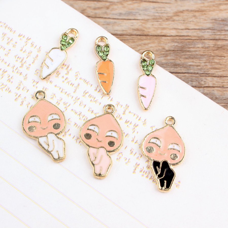 Yage 6Pcs Gold Plated trendy Fruit Charms,Colorful crystal carrot and peach charms pendant for jewelry making diy(China (Mainland))