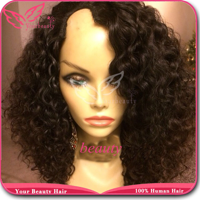 Kinky Curly U Part Wig Brazilian Virgin Human Hair U Part Wig With Bleahced Knots And Baby Hair Middle Or Right/Left Side Part<br><br>Aliexpress