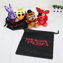 4pcs/set 14cm Five Nights at Freddy FNAF Fox Bear Bonnie Toys Plush Pendants Keychains Dolls with Gift Bag(China (Mainland))