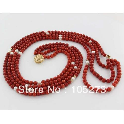 Charming Jewelry Vintage 14k GP Mediterranean Red Coral Cultured Pearl Strand Natural White Pearl Necklace 4Rows Free Shipping