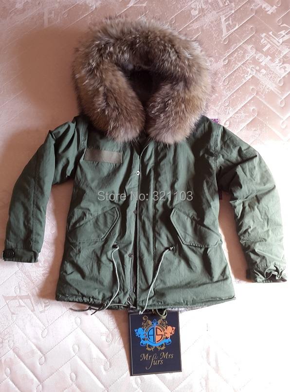 Arrvial Furs Mini Slim Parka Fur Lining Raccoon Hood Mrs Women Girl Men Winter - foxfurs store