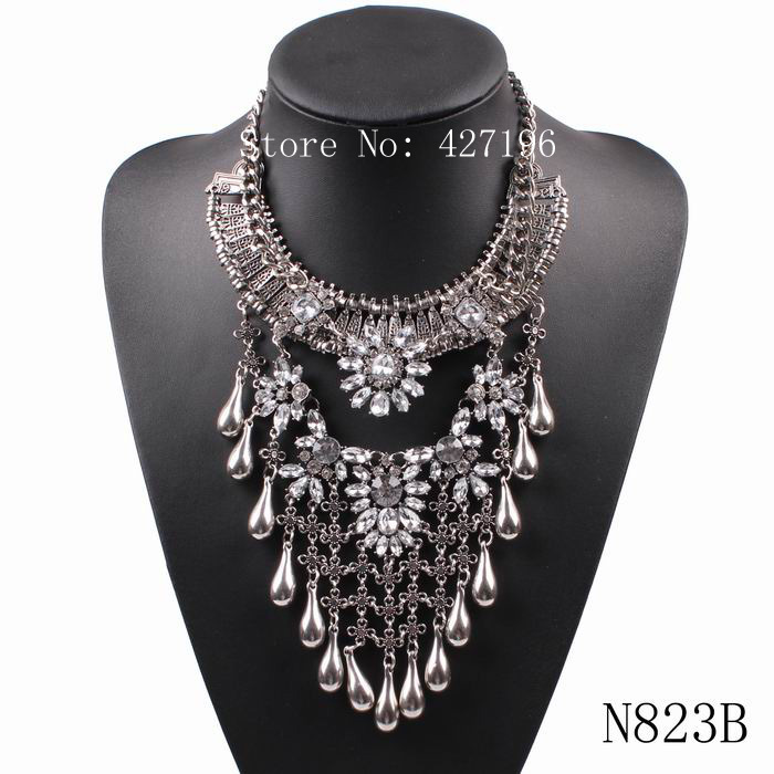 2016 new design fashion crystal pendant vintage metal chunky statement Necklaces & Pendants summer bib chain necklace for women(China (Mainland))