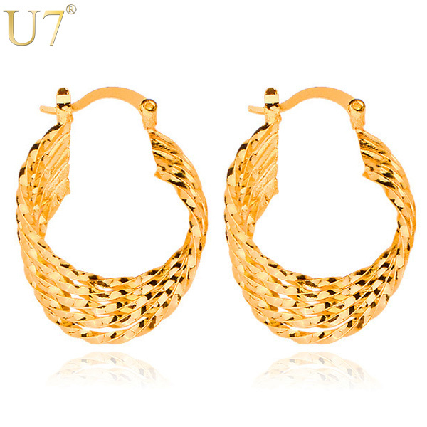 U7 Gold Indian Earring High Quality 18K Real Gold Plated Wholesale Fashion Unique Geometric Design Hoop Earrings For Women E3006(China (Mainland))