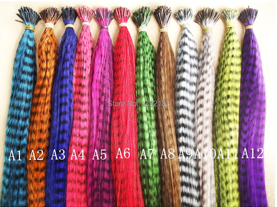 120 New Style bundle 12 colors mix real fashion thin Grizzly & Solid Colors Feather Hair Extensions with beads & hook(China (Mainland))