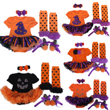 Baby Girl Halloween Clothes Tutu Romper Dress/Jumpersuit+Headband+Shoes+Leggings Infant 4pcs Clothing Sets Bebe Costumes Outfit(China (Mainland))