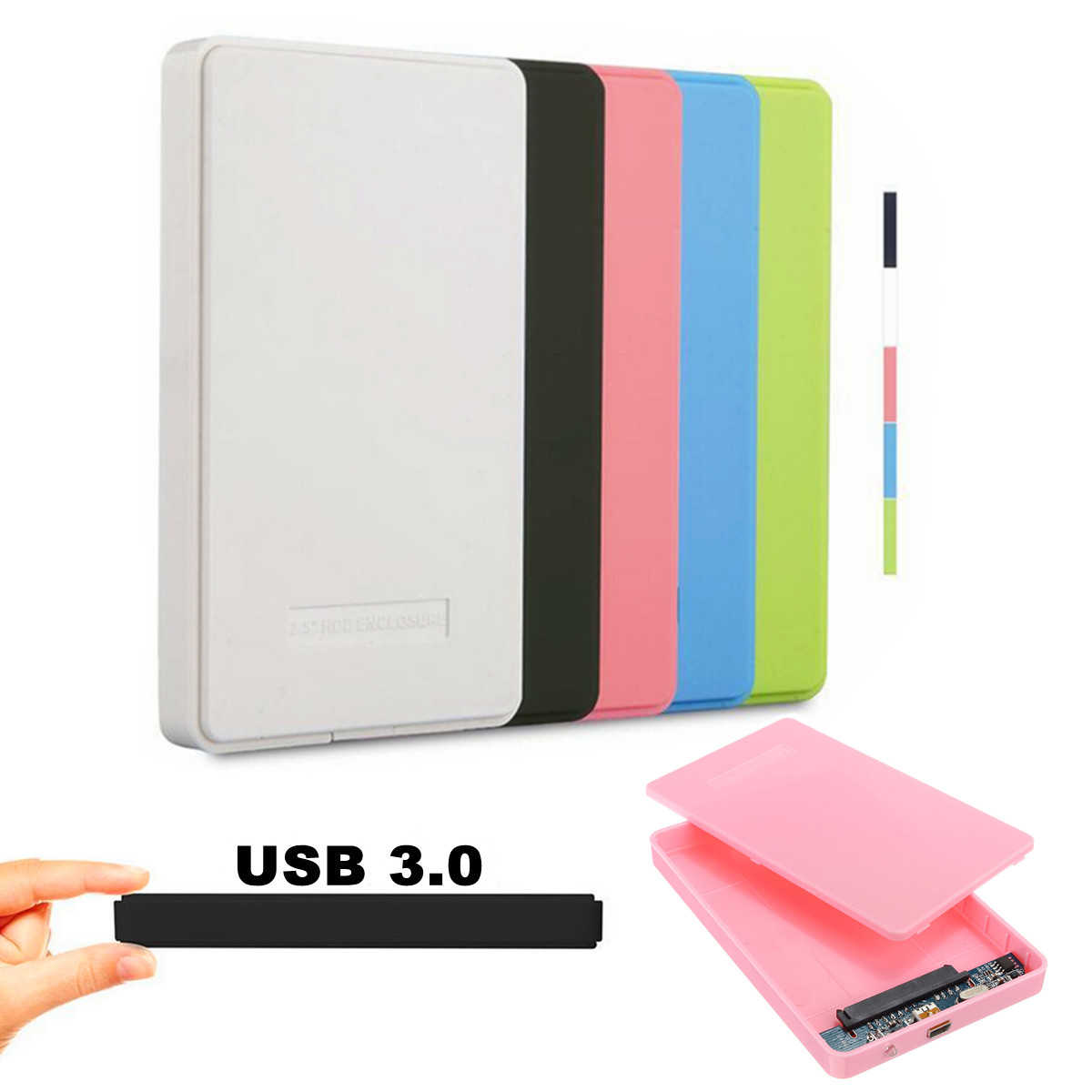 New Useful Slim and Portable USB 3.0 Enclosure External Hard Case for SATA 2.5 Hard Disk Drives HDD desktop laptop Colorful(China (Mainland))
