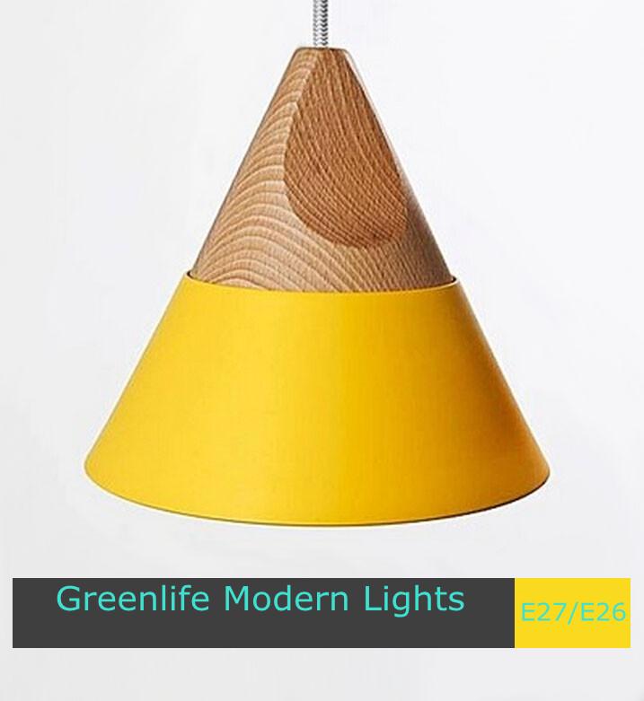 Italian design slope modern lighting fixture yellow aluminum and oak wood pendant lights D200*H250 E27 socket(China (Mainland))