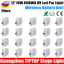 Discount Price 20 Pack 12X18W 6in1 RGBAW UV Wireless DMX512 Battery Powered Party Led Par Light uplight Power in/out Socket(China (Mainland))