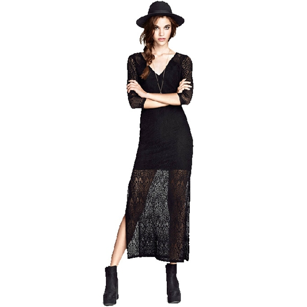 Three Quarte V-neck Sexy Black Lace Dresses Women Autumn Summer Style Fashion Long Dress Top Quality Clothes Size S-XXL Vestidos(China (Mainland))