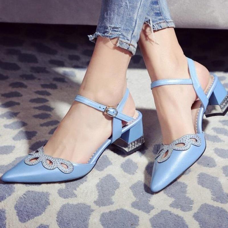 2016 nueva primavera otoño famoso diseñador de la marca de la correa del tobillo del cuero genuino High heel Women Party azul zapatos de color rosa(China (Mainland))