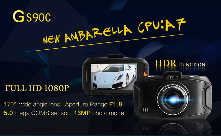 G90 Ambarella A7LA50 Car Camera DVR Recorder G90A Dash Cam 1296P/30FPS 170 Wide Angle Lens Car DVR HDR G-Sensor Night Vision