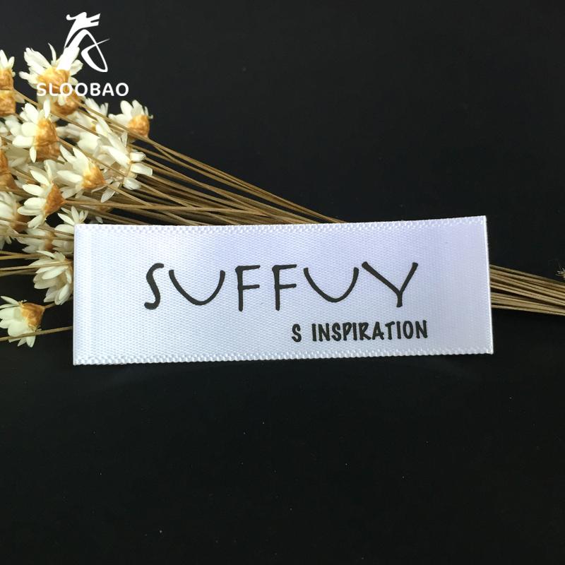 Free shipping customized satin ribbon tape printing/garment collar label/soft label ribbon tape/printed brand name labels(China (Mainland))