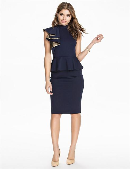 R70132 новинка оборками баски платье мода элегантные женские офисные платья клуб ...