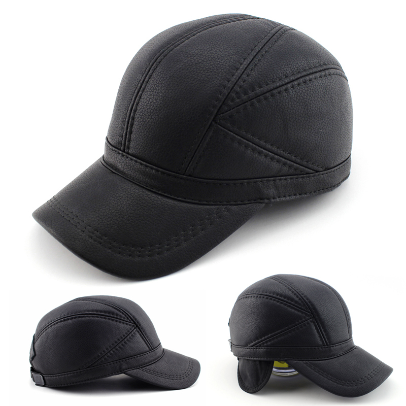 High quality Leather hat genuine winter leather hat baseball cap adjustable for men black hats Free ShippingОдежда и ак�е��уары<br><br><br>Aliexpress