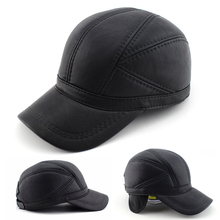 High quality Faux Leather hat genuine winter leather hat baseball cap adjustable for men black hats Free Shipping(China (Mainland))