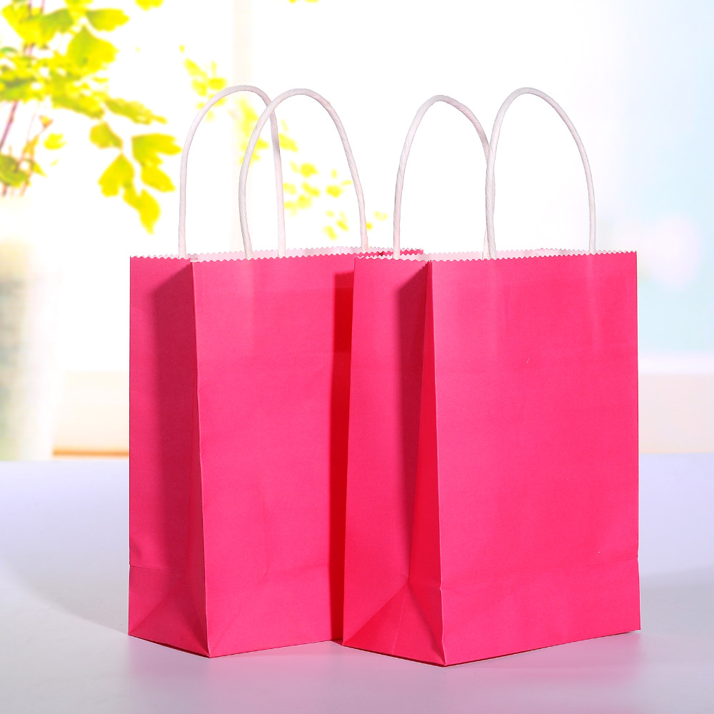 b62a95f89fc Wholesale Hot Pink Kraft Paper Bag With Handle Wedding Party Favor ...