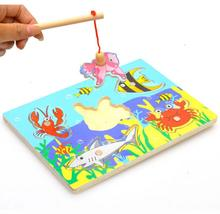 Деревянные Магнитные Рыбалка Игрушка Деревянная Рыба Игрушки дети дети день рождения рождественский подарок игрушки Головоломки(China (Mainland))