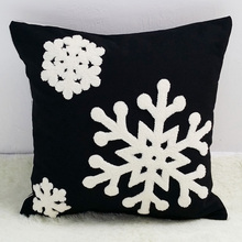White Snow Embroidery Black Cotton Cushion Cover