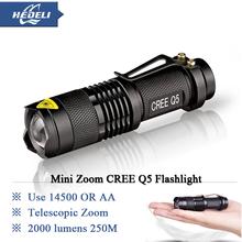 Mini Rechargeable led flashlight led cree q5 Lanterna High Power Torch 2000 lumen Zoomable Tactical Penlight lantern bike light(China (Mainland))