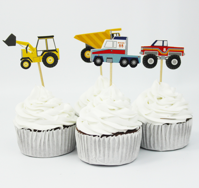 72pcs Car Theme Party Supplies Cartoon Car Cupcake Toppers Pick Kid Birthday Party Decorations(China (Mainland))