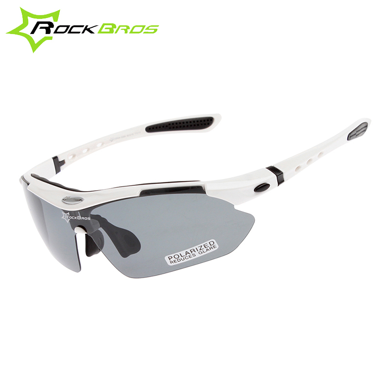 RockBros Polarized Outdoor Sports Bicycle Glasses  Cycling Sun Glasses MTB Bike Sunglasses TR90 Goggles Eyewear 5 Lens, White