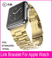 New Arrival 3 Pionters Gold Link Bracelet Watchband For Apple Watch 42mm 38mm With Metal Adapter