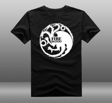 Mens Casual Game of throne House Targaryen Logo T-shirts Print 100% Cotton Short Sleeve O-neck Tee Shirts Tops