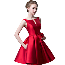 Suosikki 2016 New fashion fuchsia vestido de noiva short design Champange color lace up bridal party cocktail dress(China (Mainland))
