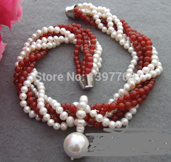 Miss charm Jew.141 Excellent! 6Strds Pearl&Carnelian Necklace(China (Mainland))