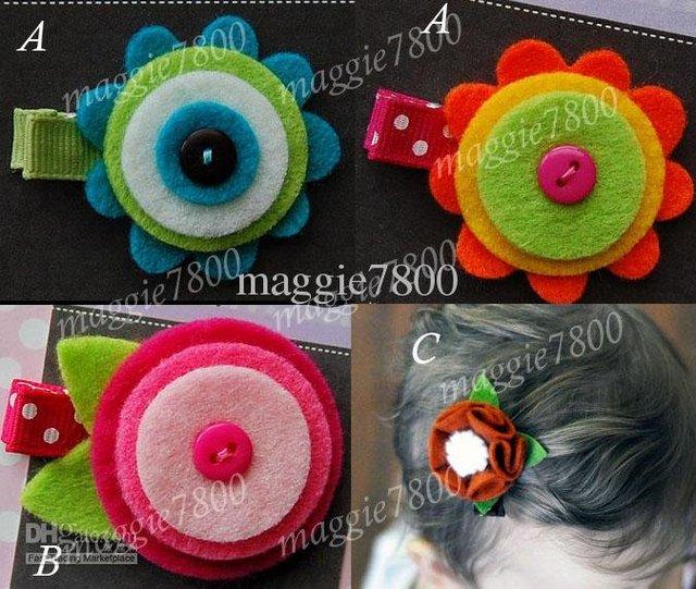 """2"""" Baby felt hair bows hair clip Girls' Hair Accessories Baby hair clips felt ribbon bows 120pcs/lot A385"""