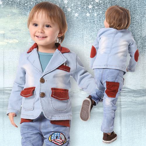 4шт/лот, оптом джинсы детские для мальчиков носить наряд 3шт набор одежды костюм пальто+ рубашка +джинсы, осень -лето детские одежда, Z0179