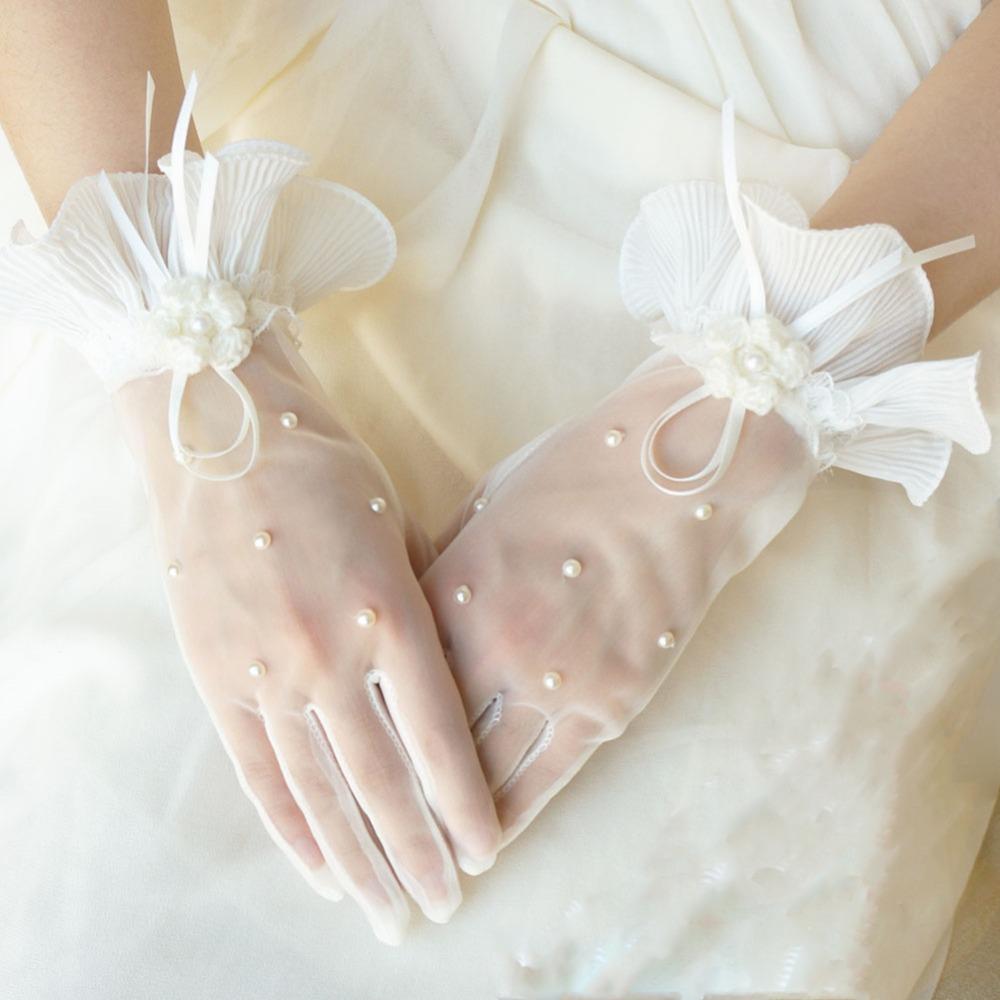Бесплатная Доставка На Складе Дешевые Кот Жемчуг Короткие Свадебные Перчатки Свадебные Аксессуары Свадебные Перчатки Для Свадьбы