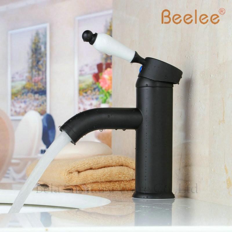 Купить Beelee BL5602B Бесплатная Доставка Черный медь ванной кран год сбора винограда способа горячей и холодной стирки кран бассейна смеситель для раковины, смеситель