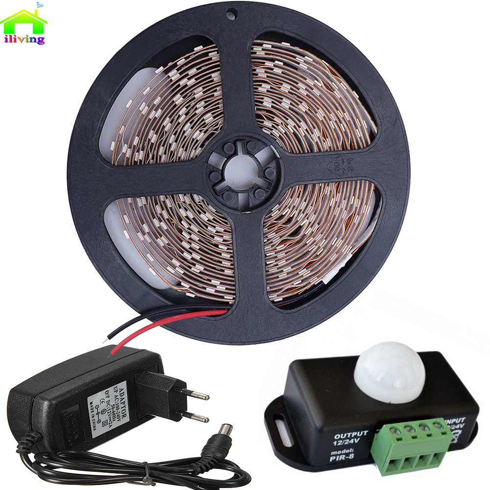 5M SMD3528 IP LED Strip Tape With DC 12V/24V Body Infrared PIR Motion Sensor Switch 2A Adapter Single Color Lighting Full Kit(China (Mainland))