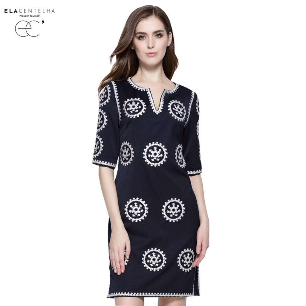 ElaCentelha Byzantine Casual Autumn Women Elegant Dress Lace Embroidery Floral Tunic Half Sleeve V-Neck Dresses
