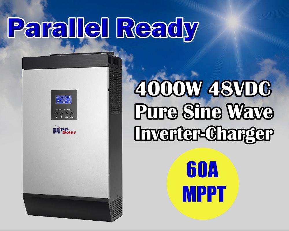 5Kva pure sine wave solar power inverter charger 48v 4000w pure sine wave inverter with 60A MPPT solar charger(Taiwan)