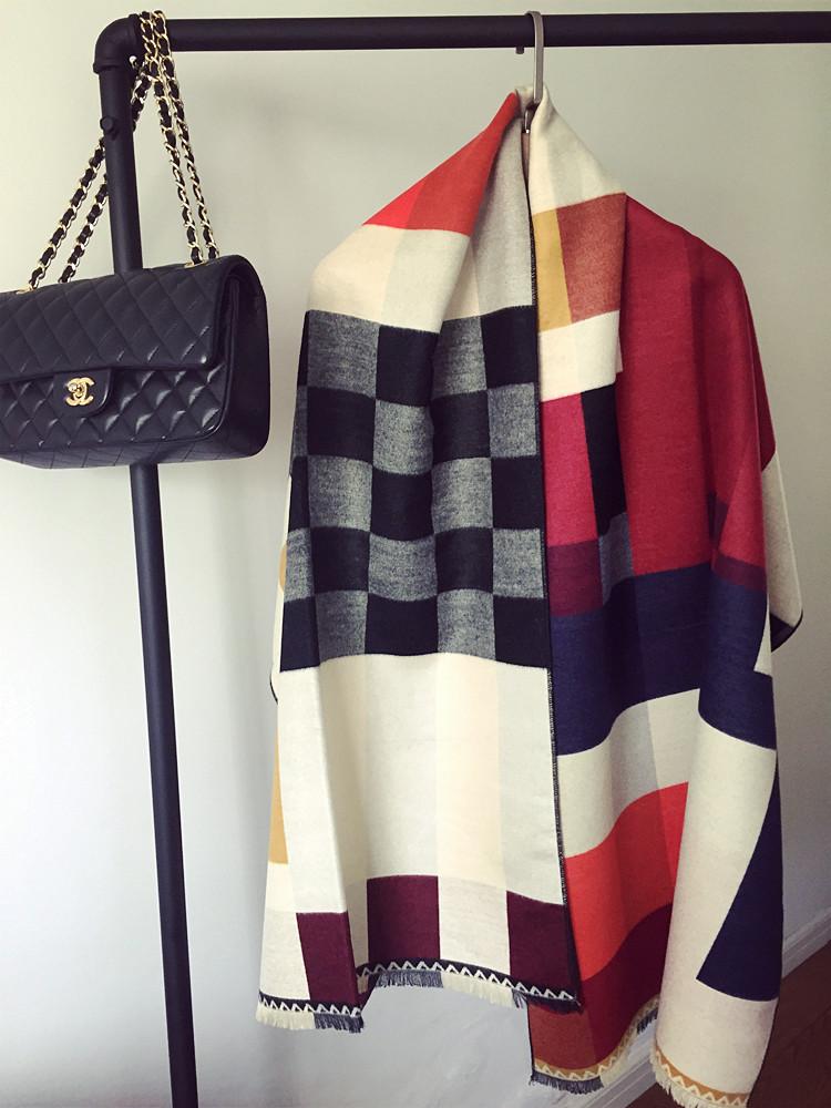 2016 Women Winter Desigual Scarf Famous Brand Cashmere Wool Thicken Soft Warm Scarf Shawls Scarves Fashion Lady Blanket Scarf(China (Mainland))