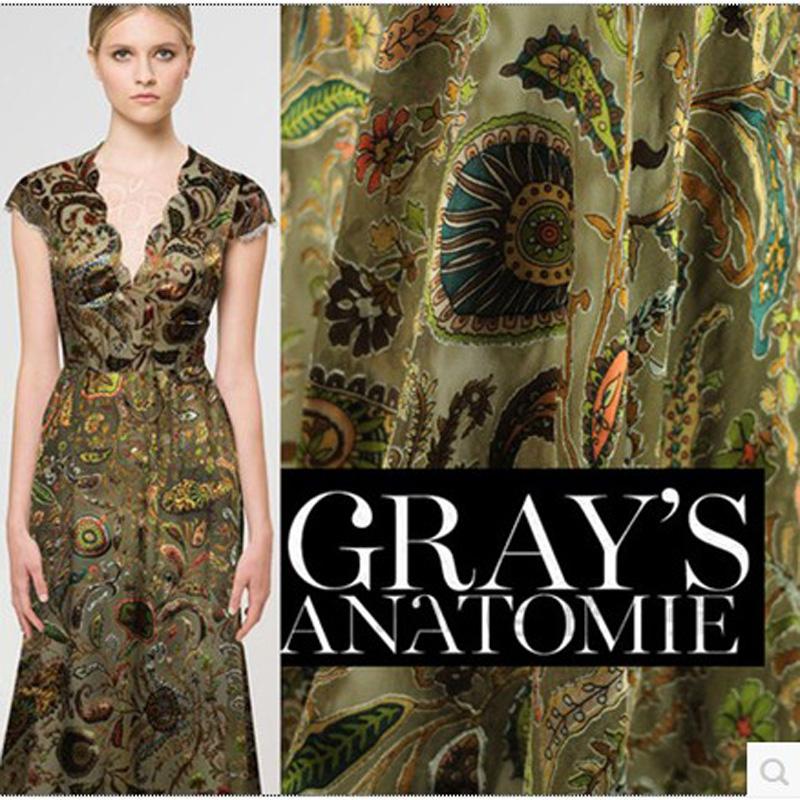 Burnt-out raw silk fabrics wholesale authentic silk fabrics silk clothing silk jacquard European style cashew(China (Mainland))