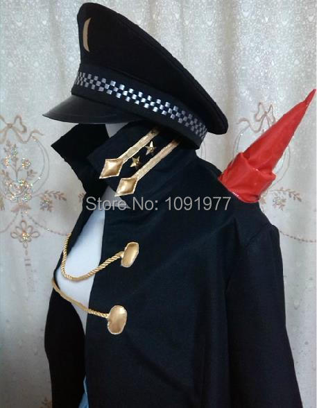 Kill la Kill Mako Mankanshoku Army Uniform Black Coat With Hat Cosplay Costume Customized Any Size(China (Mainland))