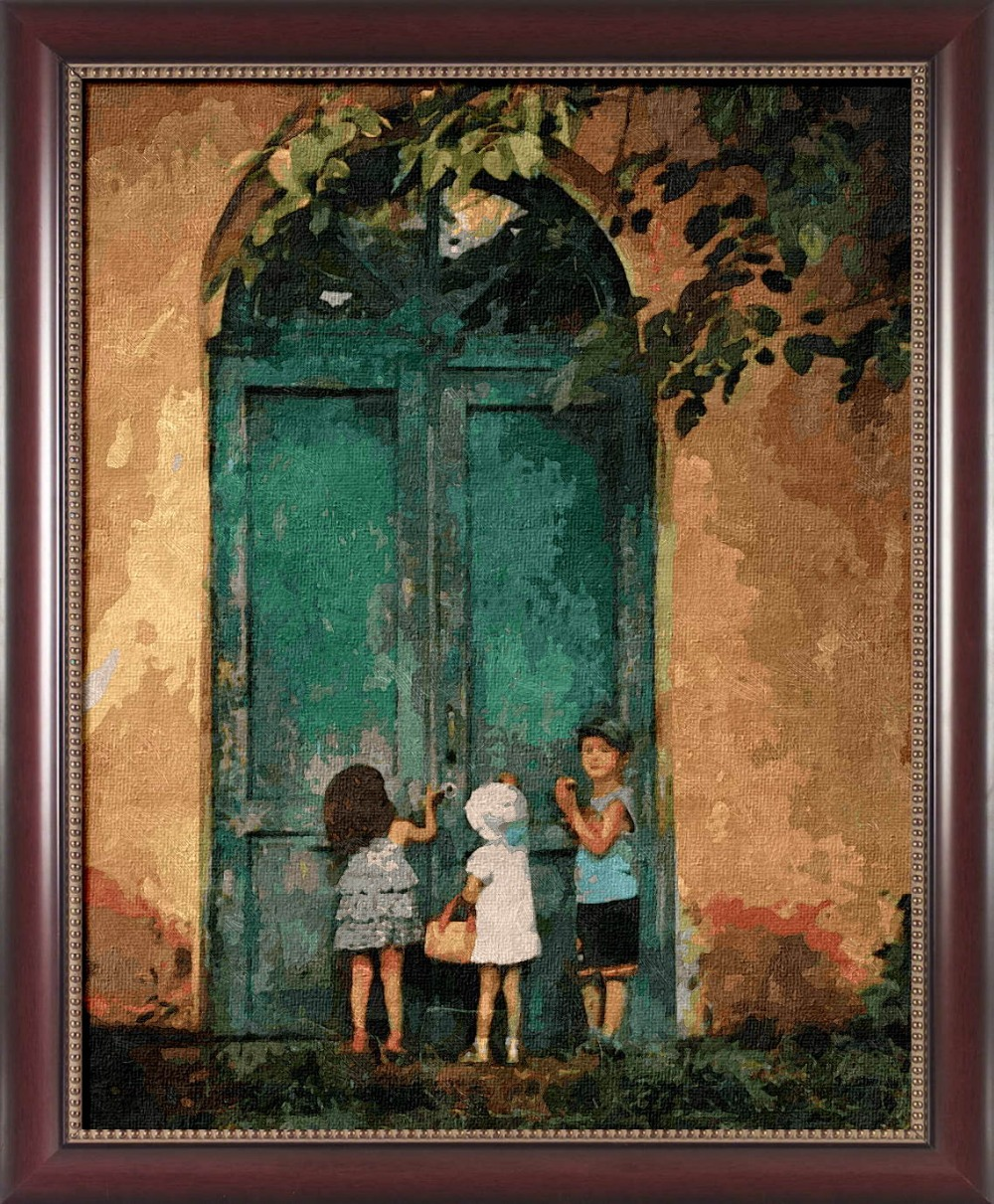 Unframed painting by number paint by numbers for home decor frame picture oil painting canvas painting 4050 Knock on the door(China (Mainland))