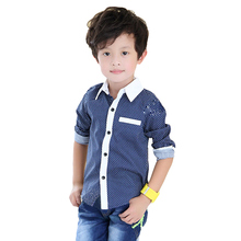 Spring Summer Boys Shirts Casual Kids Clothes 2015 Fashion Boys Clothes Long Sleeve Boy Shirt Blouse Dot Print Children Clothing(China (Mainland))