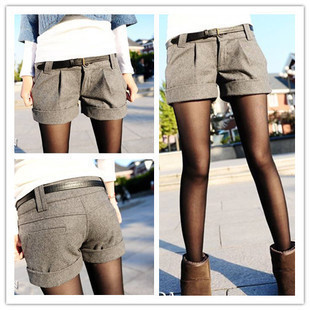 2012 women's fashion thermal autumn and winter woolen shorts roll up hem short boot cut jeans shorts female autumn and winter